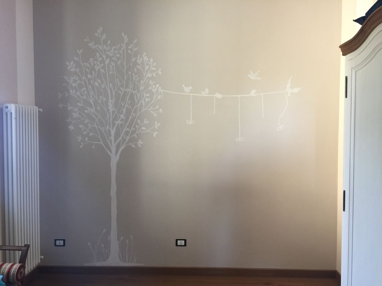 Decorazione parete albero con uccellini - Decorazione parete cameretta ...