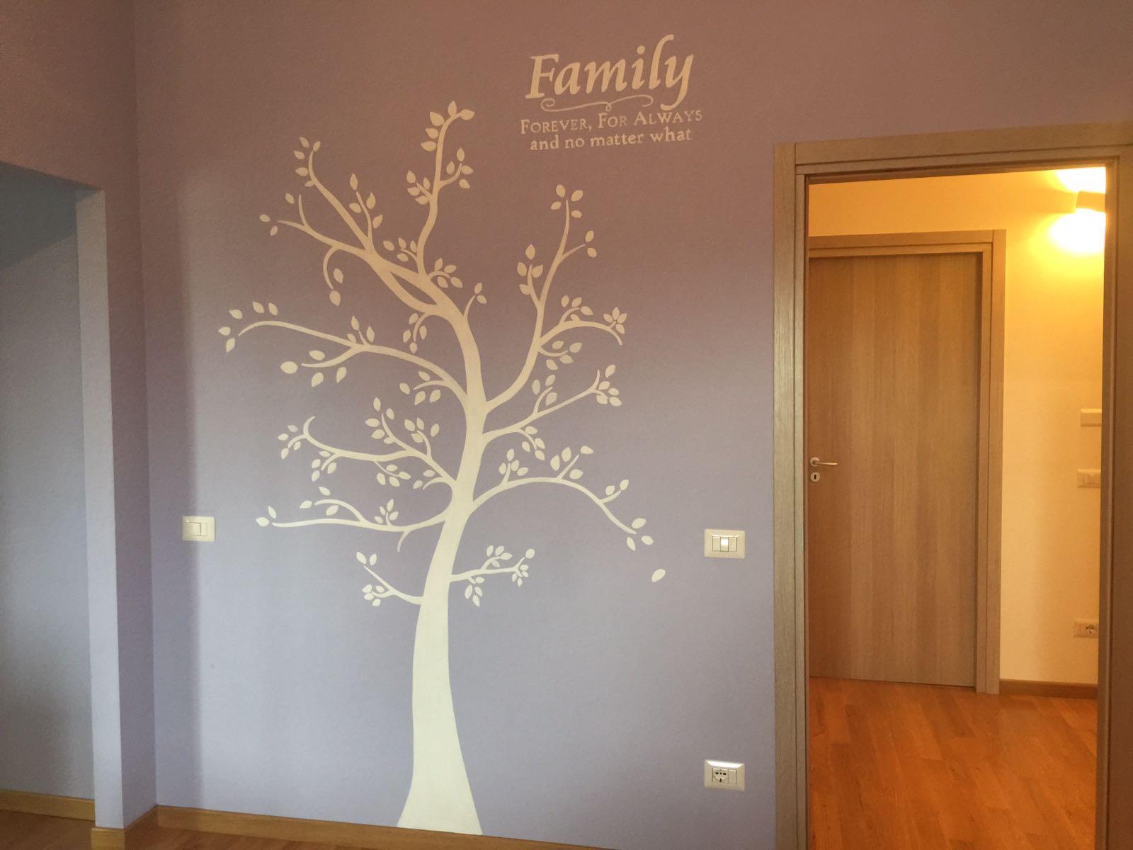 Decorazione parete albero con foglie bianco - Decorazione parete cameretta ...