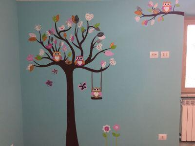 decorazione parete - Albero con foglie e gufetti